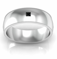 Domed Princess Cut Black Diamond Wedding Ring with Milgrain