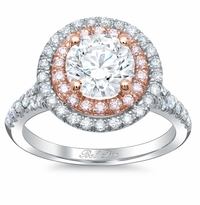 Double Halo Engagement Ring with Pink Diamonds for Round