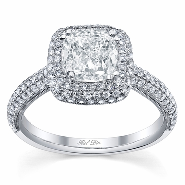 Double Prong Micro Pave Halo Engagement Ring with Milgrain - click to enlarge
