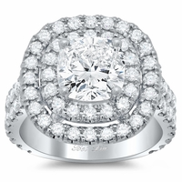 Double Shank Double Halo Engagement Ring
