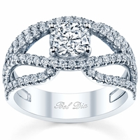 Double Split Shank Diamond Engagement Ring