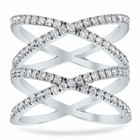 Double X Pave Ring