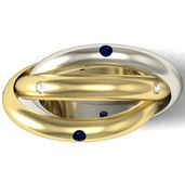 Dual Colored Gold Blue Sapphire and Diamond Rolling Ring