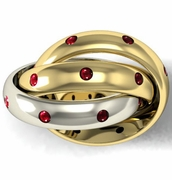 Dual Colored Gold Ruby Rolling Ring
