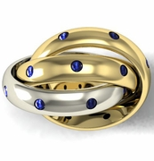 Dual Colored Gold Sapphire Rolling Ring