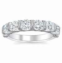 Eight Stone U-Prong Wedding Band with Milgrain
