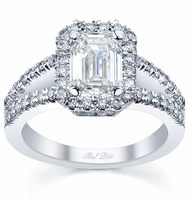 Emerald Cut Halo Split Shank Engagement Ring