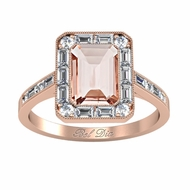 Emerald Cut Morganite Baguette Diamond Halo Rose Gold Engagement Ring