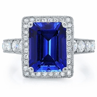 Emerald Cut Sapphire Halo Engagement Ring