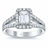 Emerald Split Shank Design Halo Engagement Ring