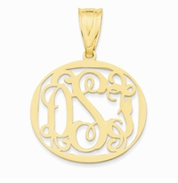 Encircled Carved Monogram Pendant