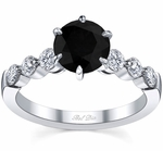 Engagement Ring with Round Black Diamond