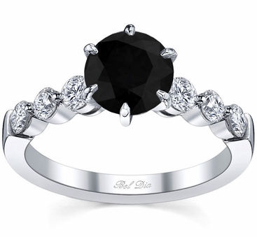Engagement Ring with Round Black Diamond - click to enlarge