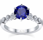 Engagement Ring with Round Blue Sapphire