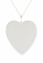 Engravable Heart Pendant 14k White Gold 20mm
