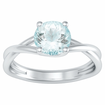 Entwined Solitaire Aquamarine Engagement Ring - click to enlarge