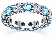 Eternity Band with Diamond and Blue Topaz