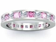 Eternity Birthstone Ring with Diamonds and Pink Sapphires
