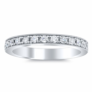 Eternity Ring Pave Half Round Milgrain Setting