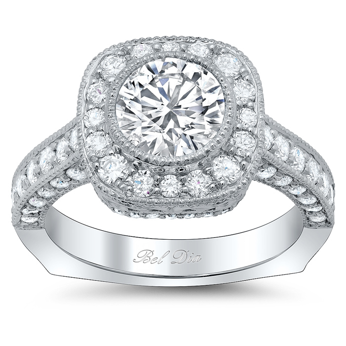 Euro Shank Square Halo Engagement Ring for Round Diamond or Moissanite -  click to enlarge