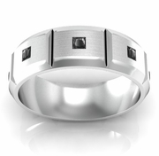 Faceted Men's Wedding Band with Princess Cut Black Diamonds