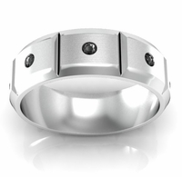 Faceted Men's Wedding Band with Round Cut Black Diamonds