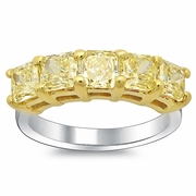 Fancy Yellow Diamond Ring 5 Stone 2.63cttw