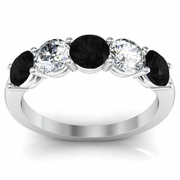 5 Stone Band with Black Diamond and White Diamond Gemstones