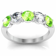 Five Stone Band with Peridot and Diamond Gem Stones