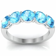 Five Stone Ring in Aquamarine