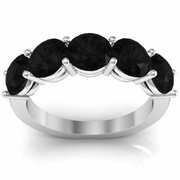 Five Stone Ring with Black Diamond