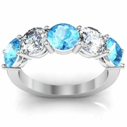 Five Stone Ring with Diamond and Aquamarine Birthstones