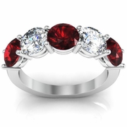 Five Stone Ring with Diamond and Garnet Birthstones