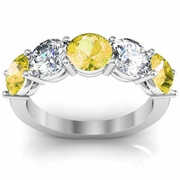 Five Stone Ring with Diamond and Yellow Sapphire Birthstones