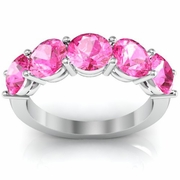 Five Stone Ring with Pink Sapphires 3.00cttw October Birthstone