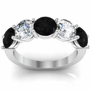 Five Stone Ring with White Diamond and Black Diamond Birthstones