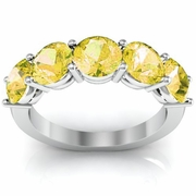 Five Stone Ring with Yellow Sapphire