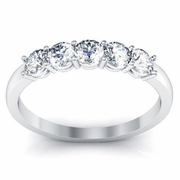 Five Stone Round Diamonds Anniversary Wedding Ring