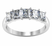 Five Stone Wedding Band Shared Prong Setting