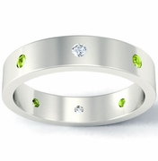 Flat Diamond and Peridot Landmark Eternity Band