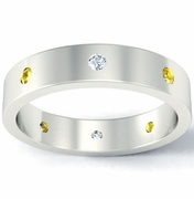 Flat Diamond and Yellow Sapphire Landmark Eternity Band