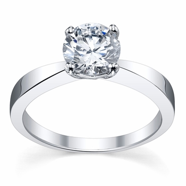 Diamond Solitaire Tapered Flat Engagement Ring - click to enlarge