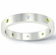Flat Peridot and Diamond Landmark Eternity Ring