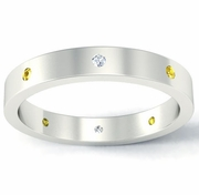 Flat Yellow Sapphire and Diamond Landmark Eternity Ring