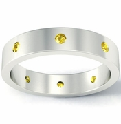 Flat Yellow Sapphire Landmark Eternity Band