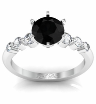 Floating Black Diamond Engagement Ring
