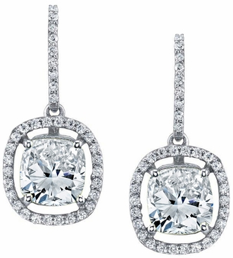 Floating Diamond Halo Drop Earrings - click to enlarge