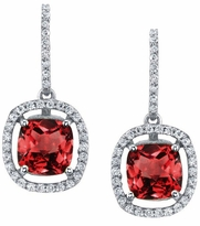 Floating Garnet Halo Drop Earrings