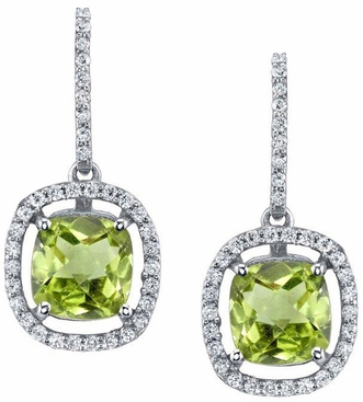 Floating Peridot Halo Drop Earrings - click to enlarge