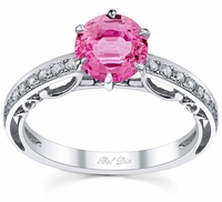 Floral Accented Pave Engagement Ring with Pink Sapphire